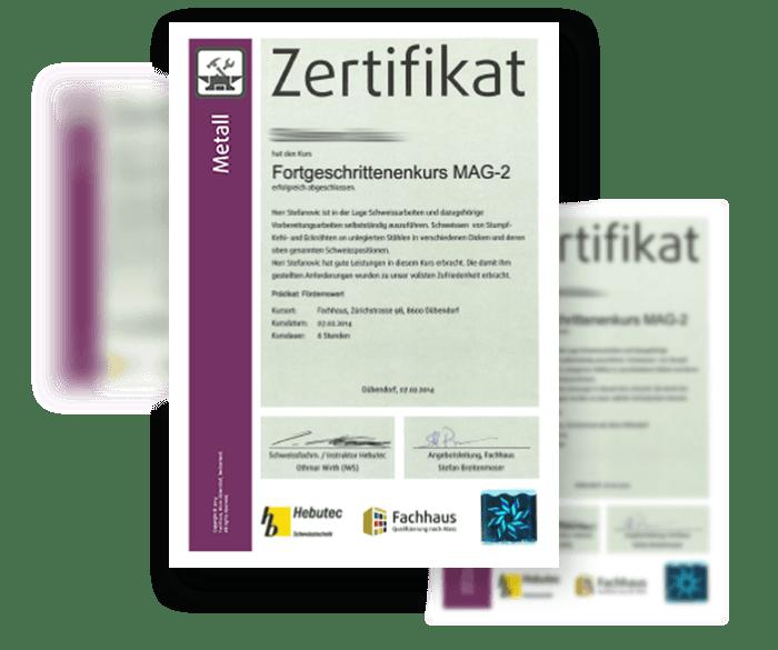 MAG2 Metall-Zertifikat